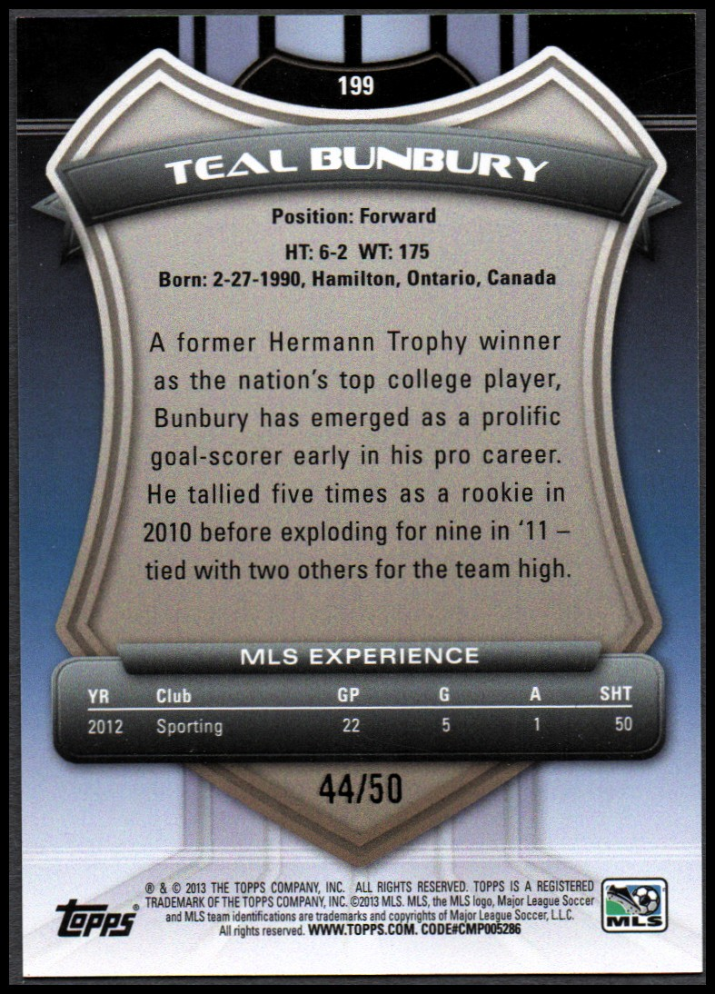2013 Topps MLS Blue #199 Teal Bunbury