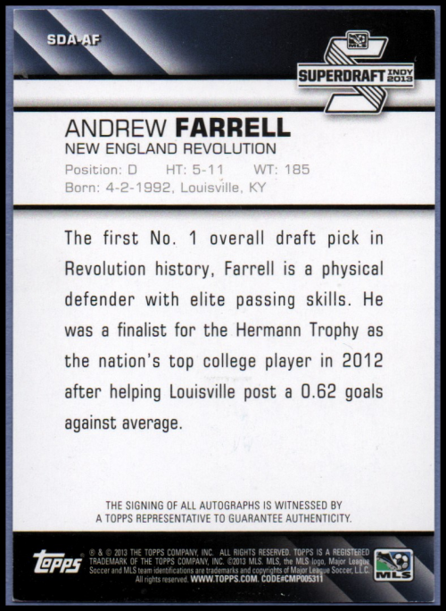 2013 Topps MLS Super Draft Autographs #AF Andrew Farrell