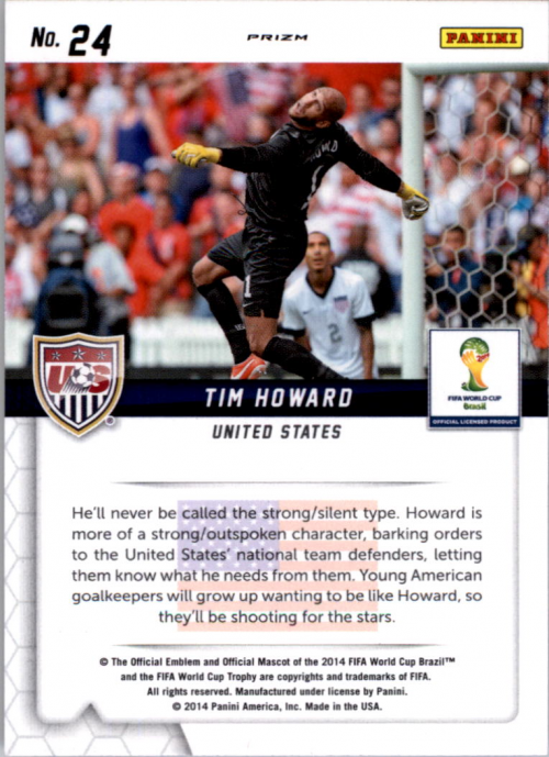 2014 Panini Prizm World Cup Guardians Prizms Red White and Blue #24 Tim Howard
