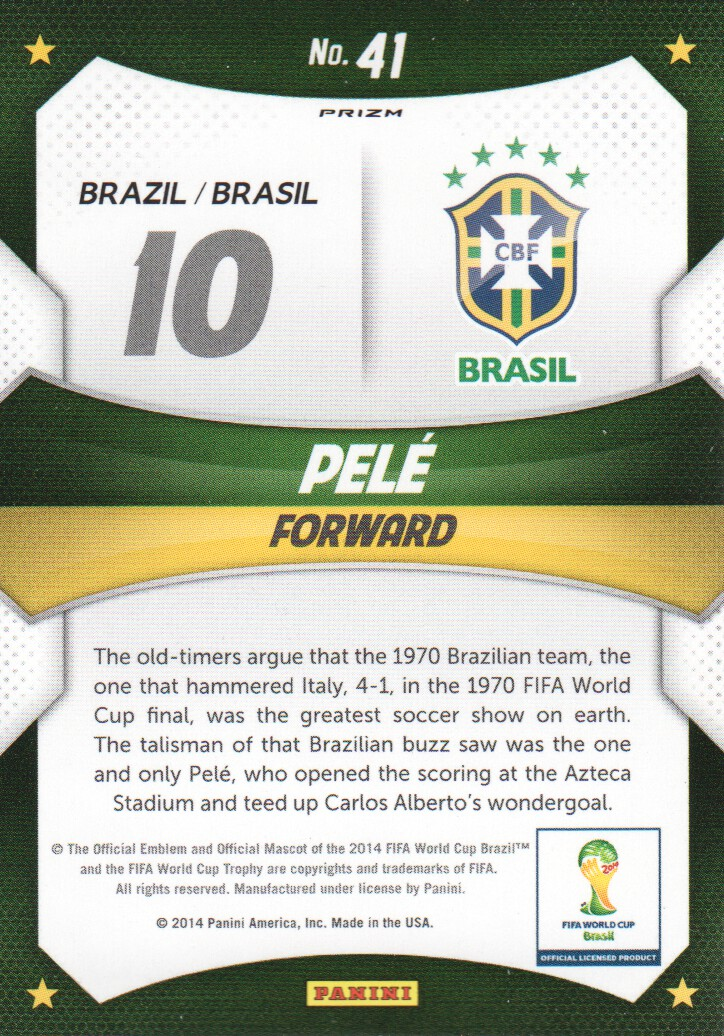 2014 Panini Prizm World Cup World Cup Stars Prizms Red White and Blue #41 Pele