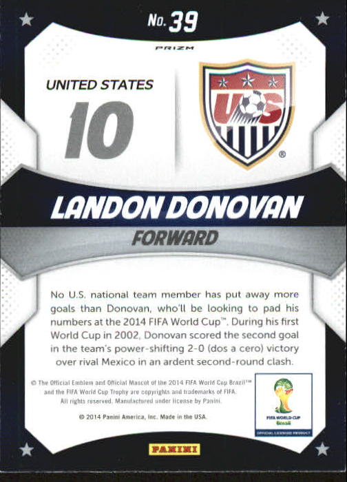 2014 Panini Prizm World Cup World Cup Stars Prizms Blue and Red Wave #39 Landon Donovan