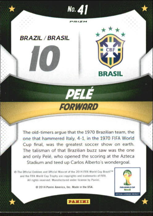 2014 Panini Prizm World Cup World Cup Stars Prizms Blue and Red Wave #41 Pele