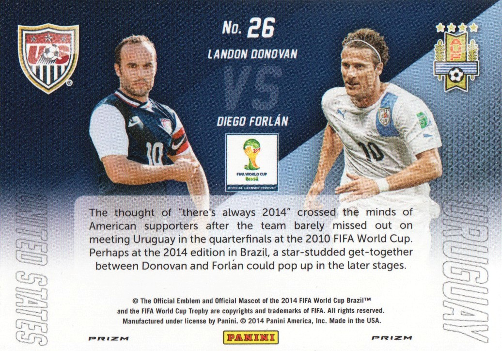 2014 Panini Prizm World Cup World Cup Matchups Prizms Yellow and Red Pulsar #26 Diego Forlan/Landon Donovan
