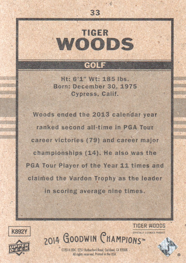 2014 Upper Deck Goodwin Champions Goudey #33 Tiger Woods