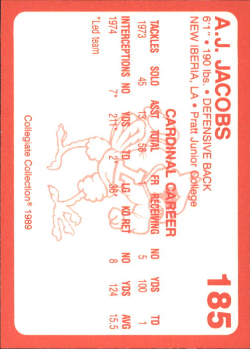 1989-90 Louisville Collegiate Collection #185 A.J.Jacobs