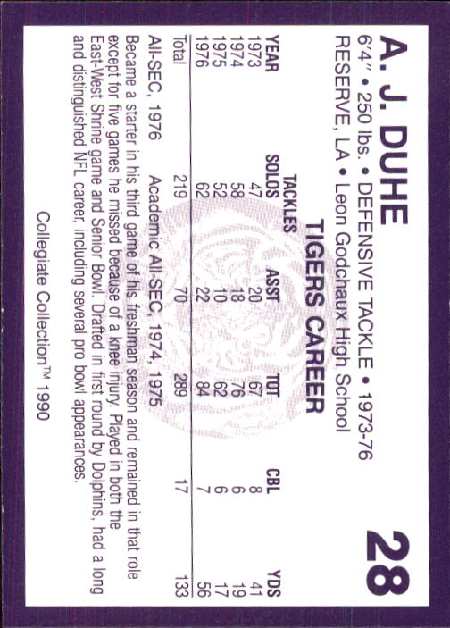 1990 LSU Collegiate Collection #28 A.J. Duhe