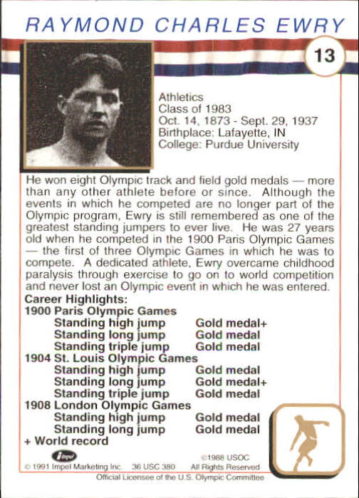 1991 Impel U.S. Olympic Hall of Fame #13 Ray Ewry back image