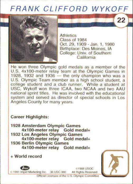 1991 Impel U.S. Olympic Hall of Fame #22 Frank Wykoff back image