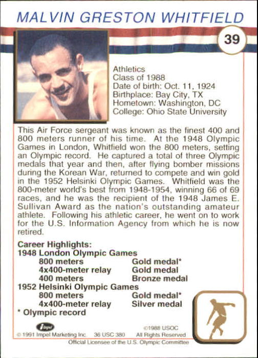 1991 Impel U.S. Olympic Hall of Fame #39 Mal Whitfield back image