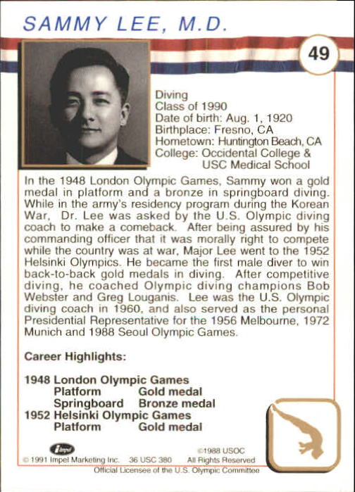 1991 Impel U.S. Olympic Hall of Fame #49 Sammy Lee M.D.