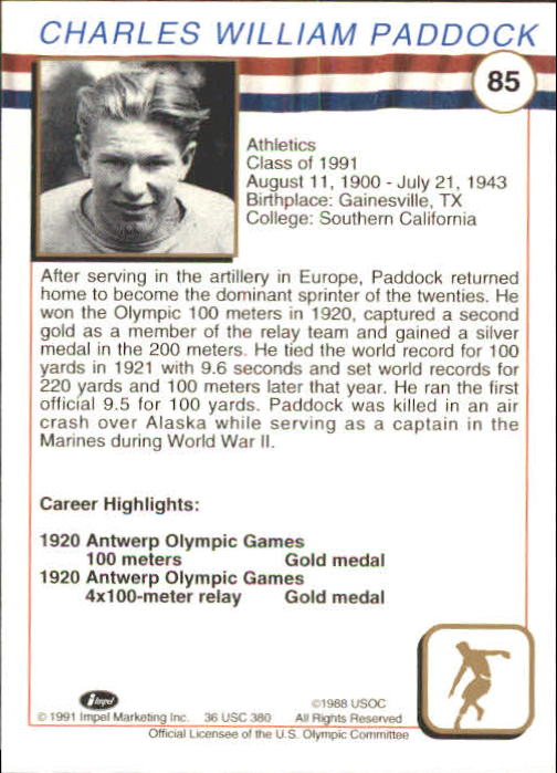 1991 Impel U.S. Olympic Hall of Fame #85 Charles Paddock