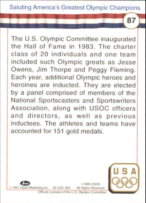 1991 Impel U.S. Olympic Hall of Fame #87 Hall of Fame History