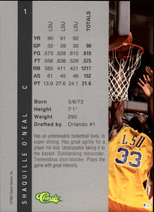 1992 Classic Four Sport #1 Shaquille O'Neal back image