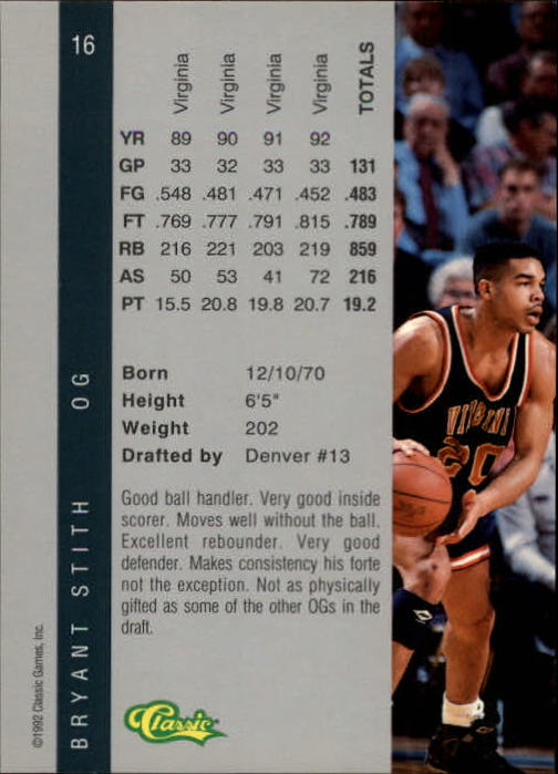 1992 Classic Four Sport #16 Bryant Stith back image