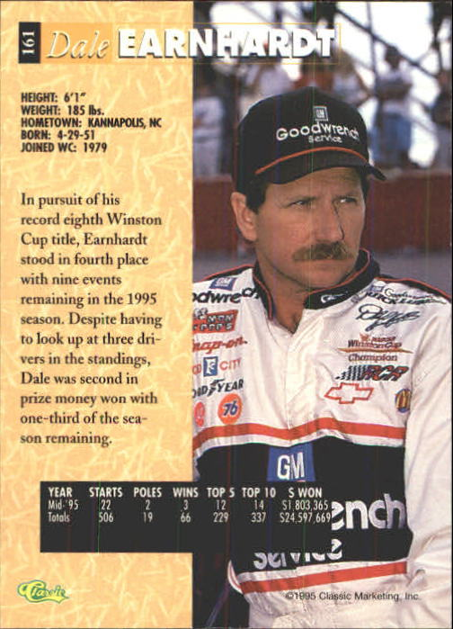 1995 Classic Five Sport #161 Dale Earnhardt back image