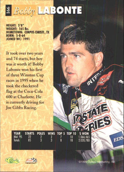 1995 Classic Five Sport #166 Bobby Labonte back image