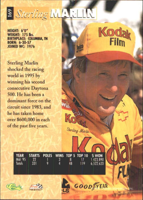 1995 Classic Five Sport #169 Sterling Marlin back image