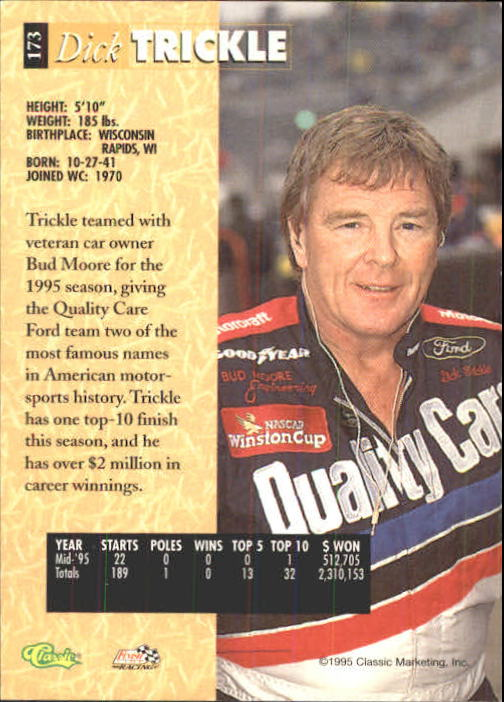 1995 Classic Five Sport #173 Dick Trickle back image