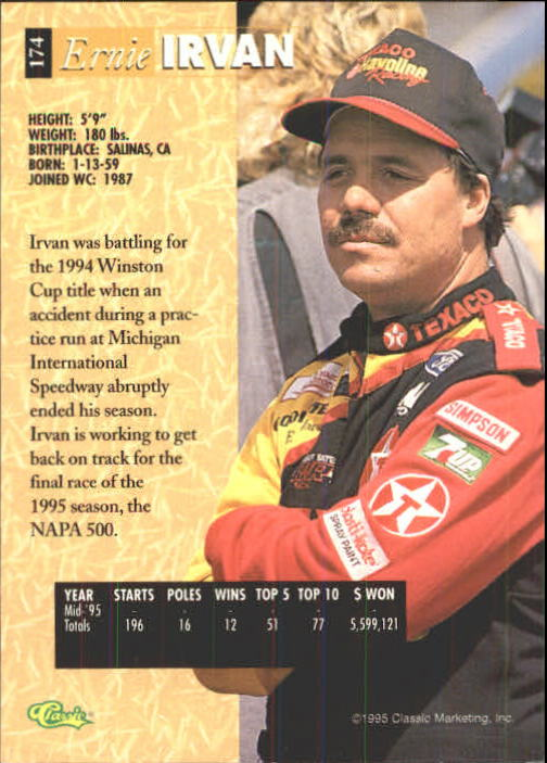 1995 Classic Five Sport #174 Ernie Irvan back image