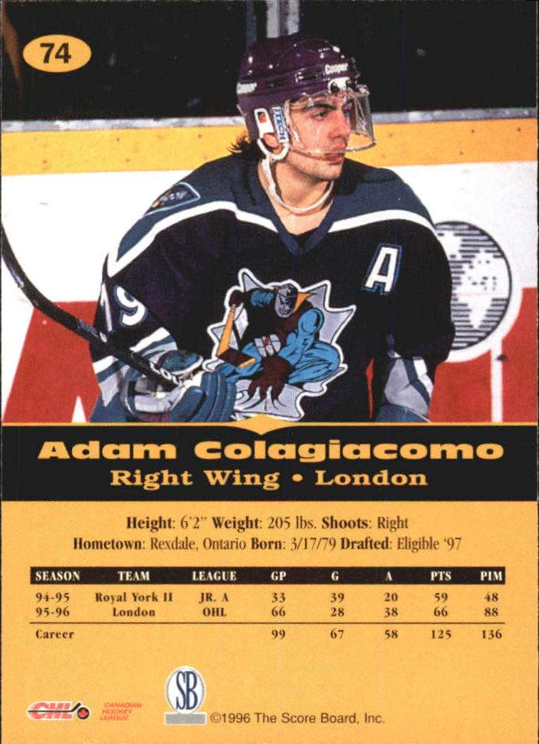 1996-97 Score Board All Sport PPF #74 Adam Colagiacomo