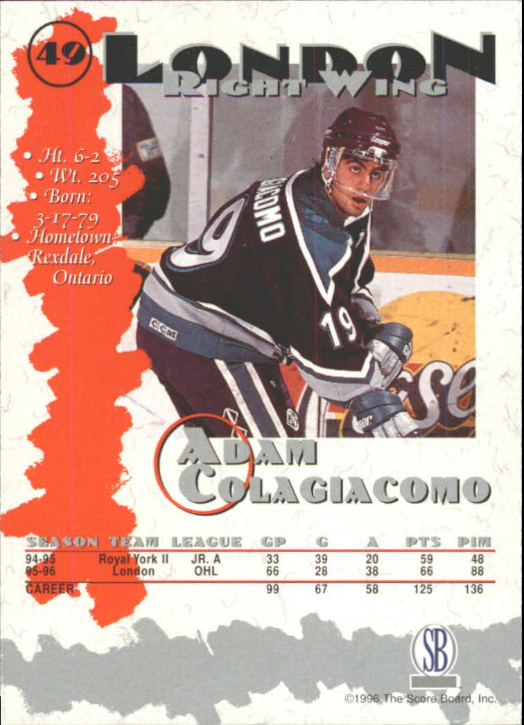 1996-97 Score Board Autographed Collection #49 Adam Colagiacomo