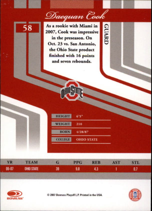 2007 Donruss Elite Extra Edition #58 Daequan Cook back image