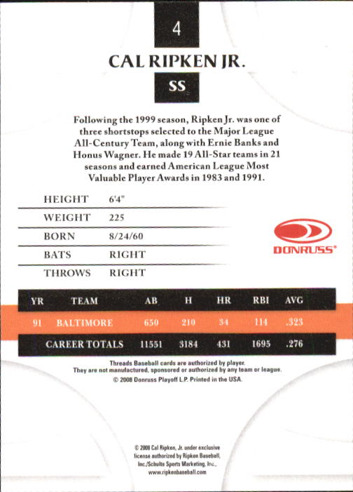 2008 Donruss Threads #4 Cal Ripken Jr. back image