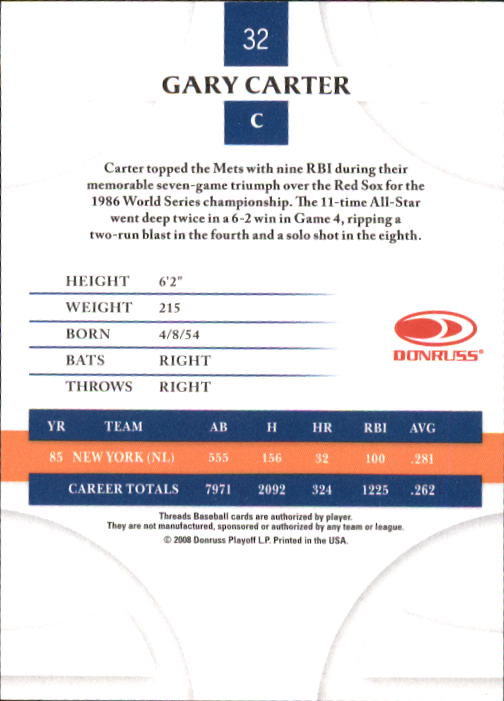 2008 Donruss Threads #32 Gary Carter back image