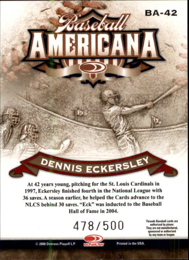 2008 Donruss Threads Baseball Americana #42 Dennis Eckersley back image
