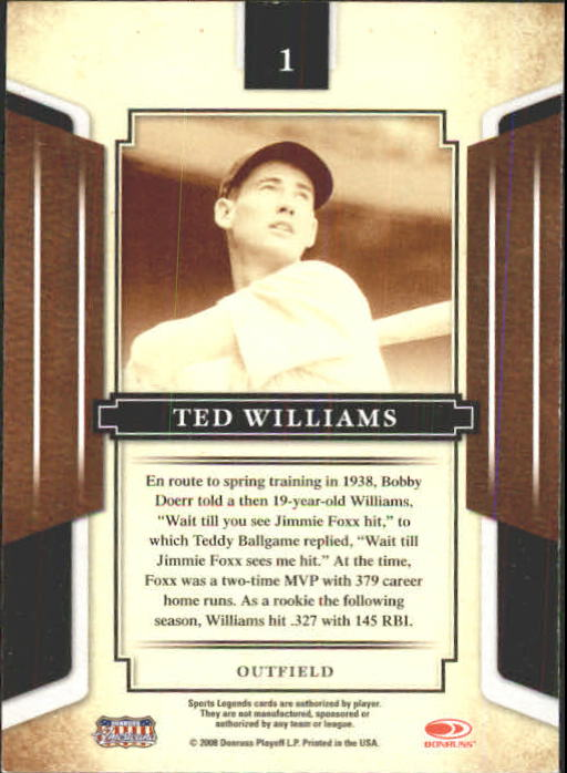 2008 Donruss Sports Legends #1 Ted Williams