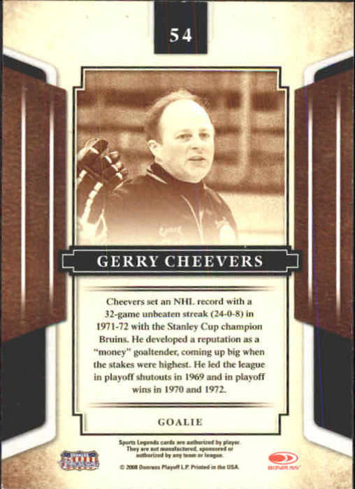2008 Donruss Sports Legends #54 Gerry Cheevers back image
