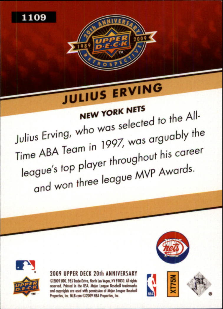 2009 Upper Deck 20th Anniversary #1109 Julius Erving back image