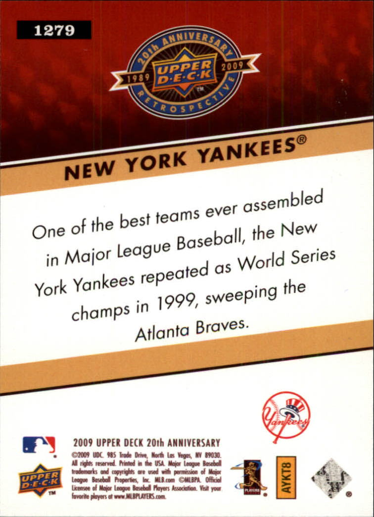 2009 Upper Deck 20th Anniversary #1279 New York Yankees back image