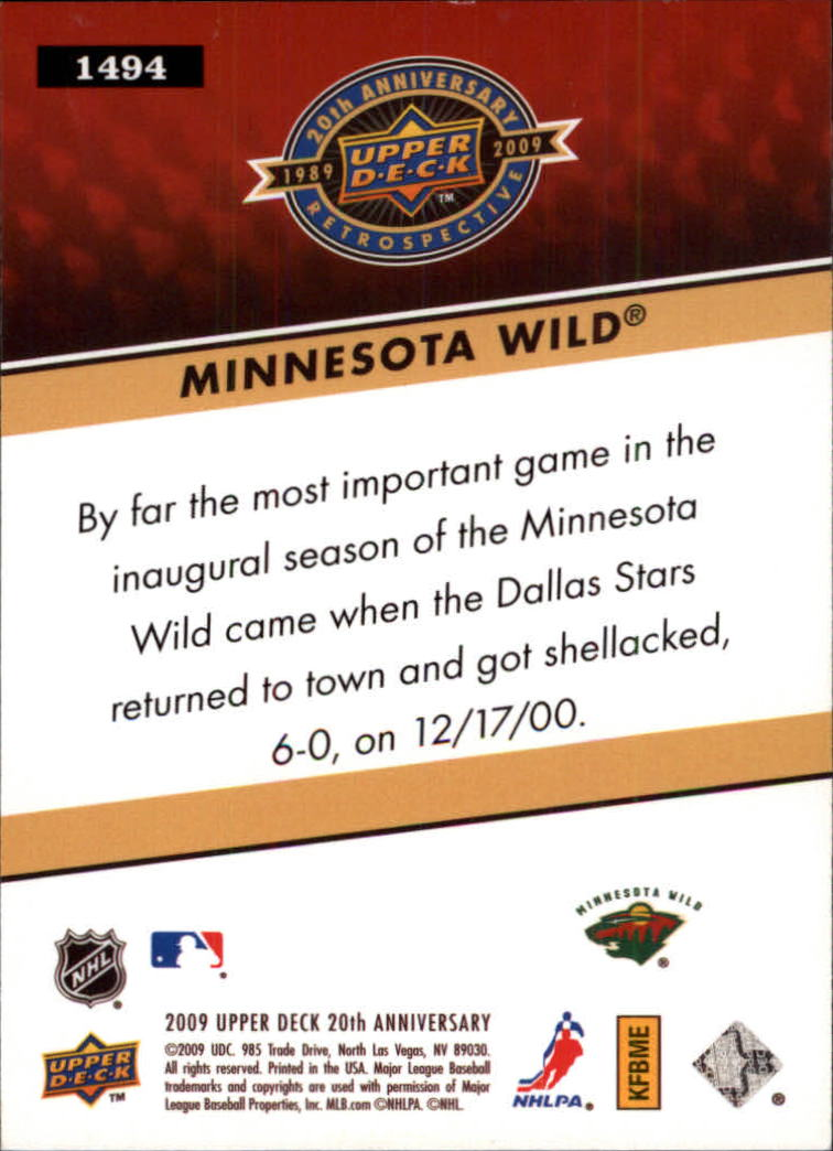 2009 Upper Deck 20th Anniversary #1494 Minnesota Wild back image