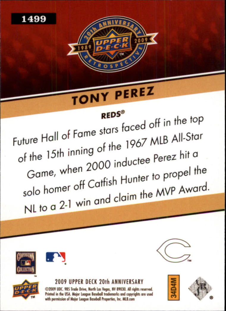 2009 Upper Deck 20th Anniversary #1499 Tony Perez back image
