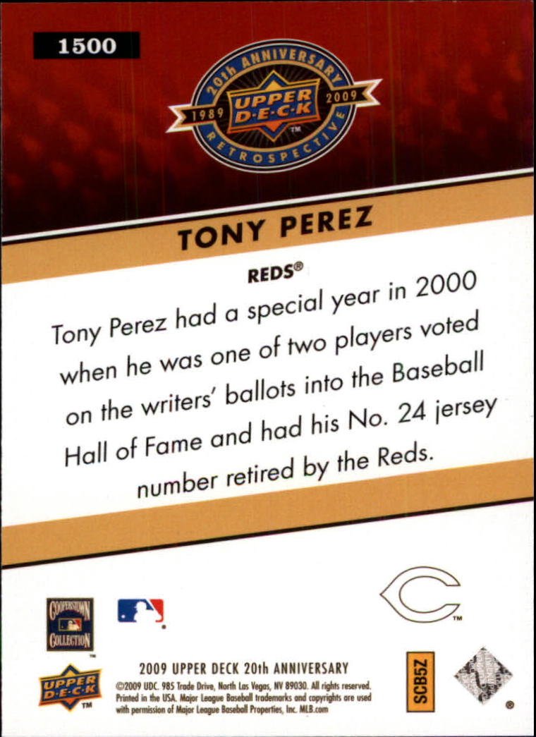 2009 Upper Deck 20th Anniversary #1500 Tony Perez back image