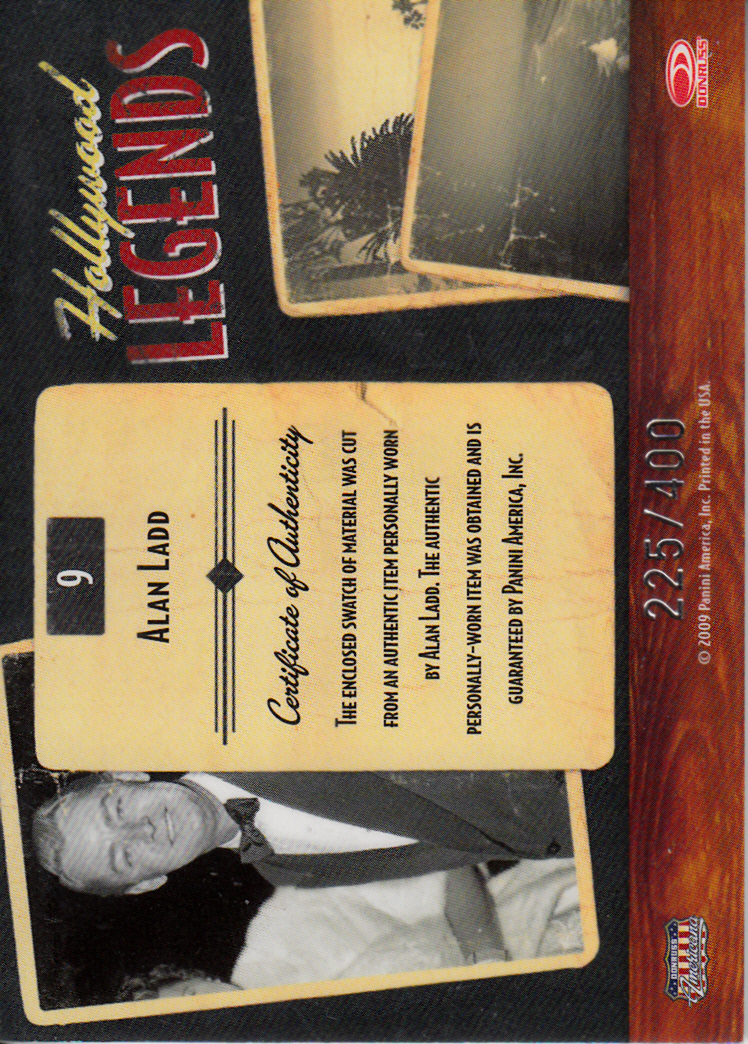 2009 Americana Hollywood Legends Material #9 Alan Ladd/400