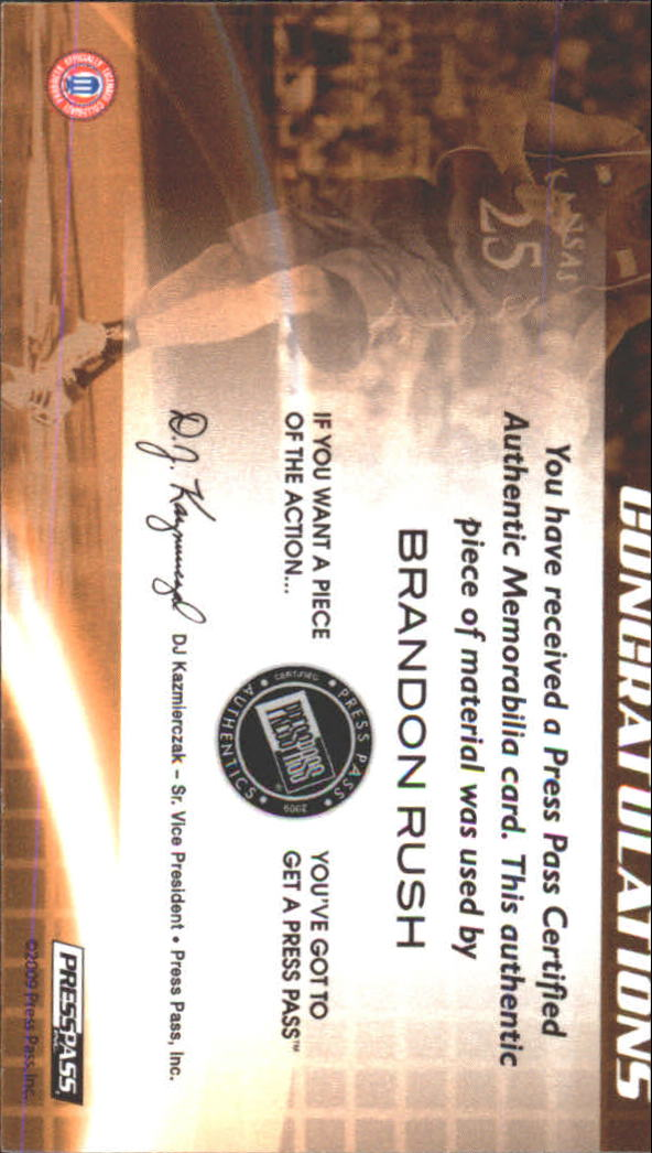 2009 Press Pass Fusion Revered Relics Silver #RRBR Brandon  Rush/99 back image
