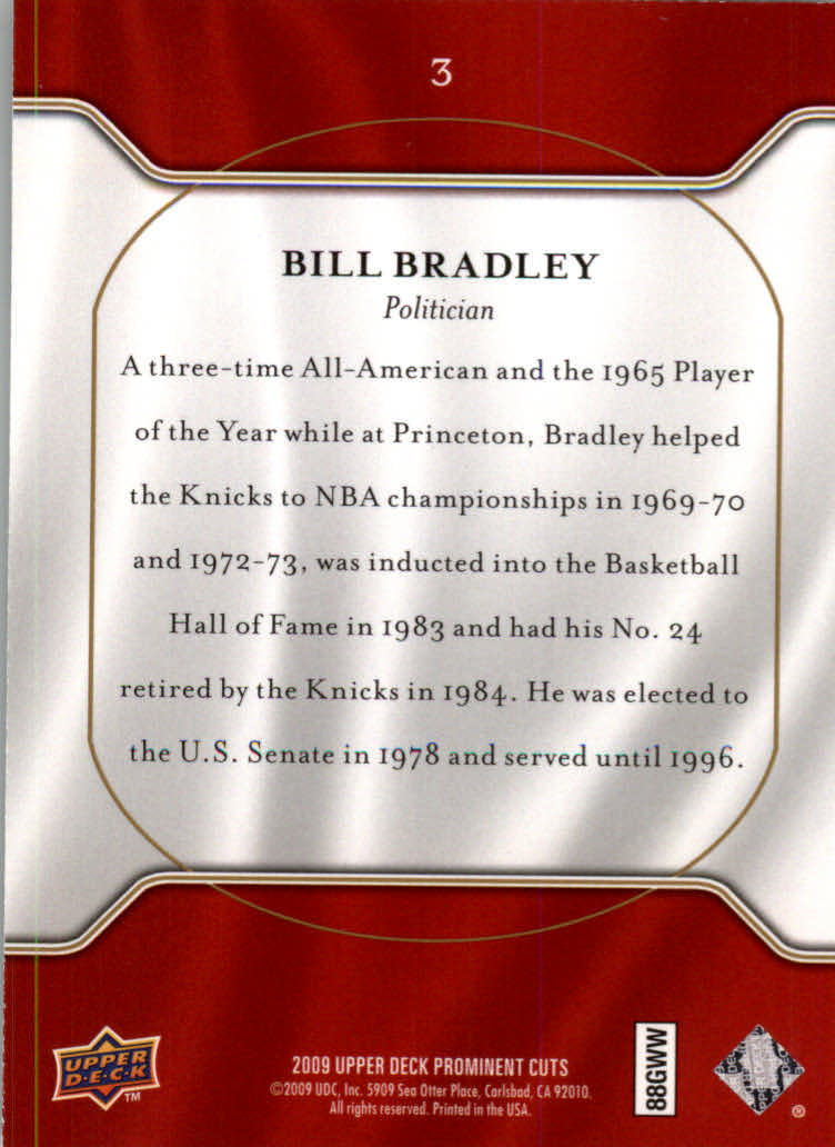 2009 Upper Deck Prominent Cuts #3 Bill Bradley back image
