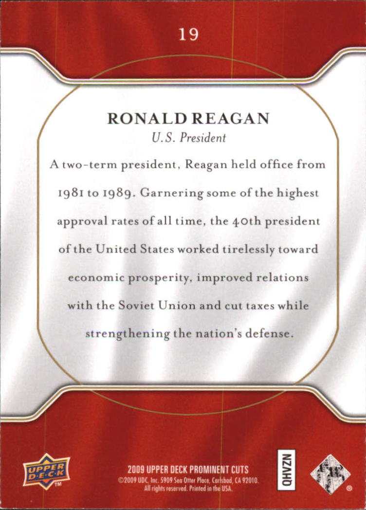 2009 Upper Deck Prominent Cuts #19 Ronald Reagan back image