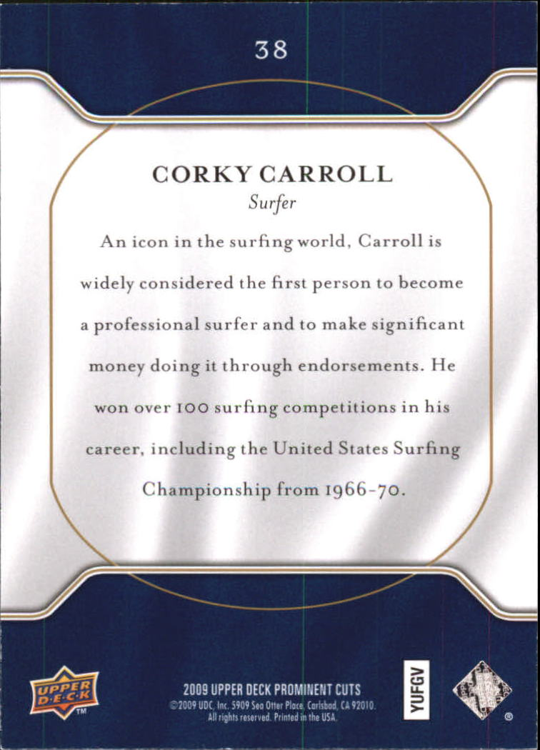 2009 Upper Deck Prominent Cuts #38 Corky Carroll back image