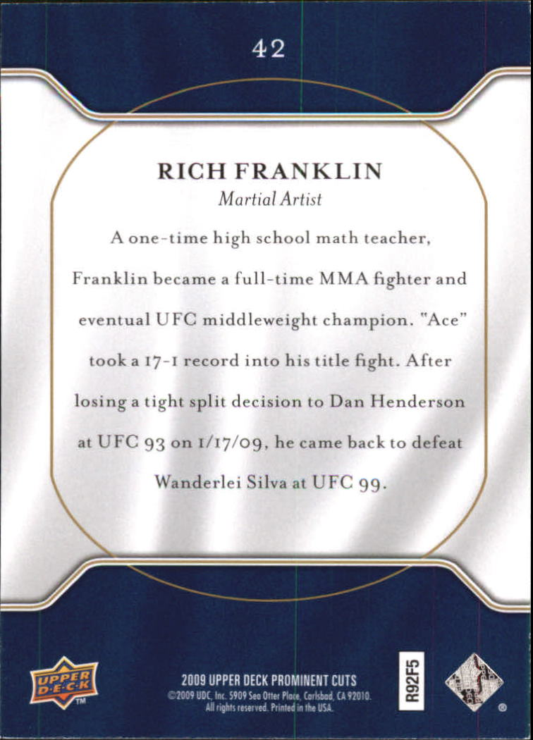 2009 Upper Deck Prominent Cuts #42 Rich Franklin back image