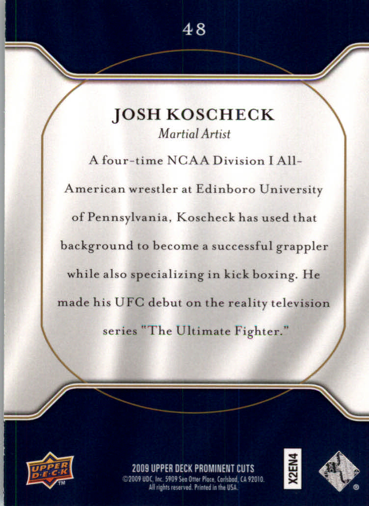 2009 Upper Deck Prominent Cuts #48 Josh Koscheck back image