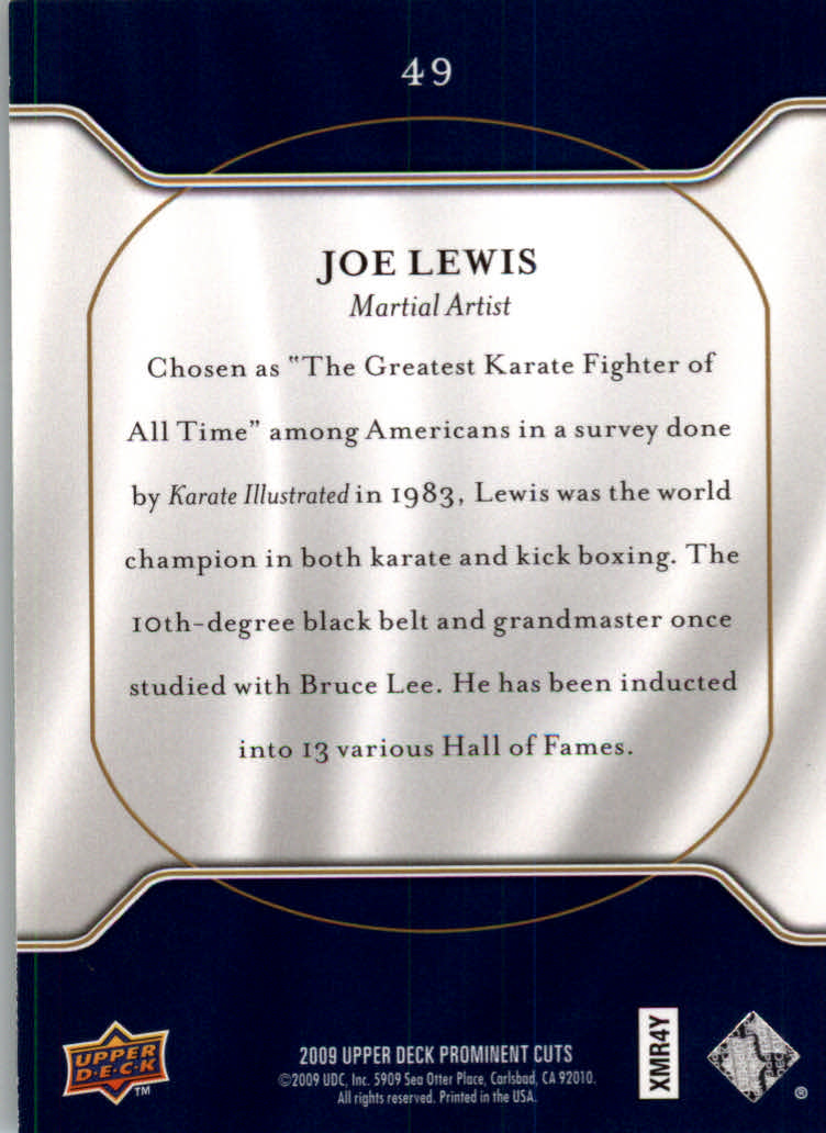 2009 Upper Deck Prominent Cuts #49 Joe Lewis back image