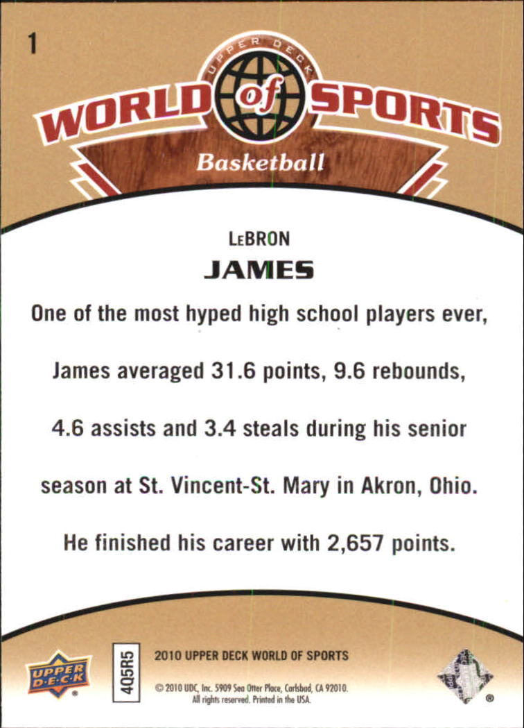 2010 Upper Deck World of Sports #1 LeBron James back image