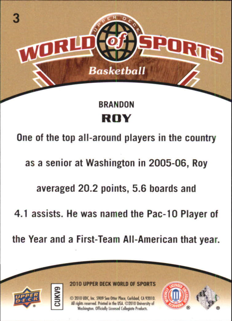 2010 Upper Deck World of Sports #3 Brandon Roy back image