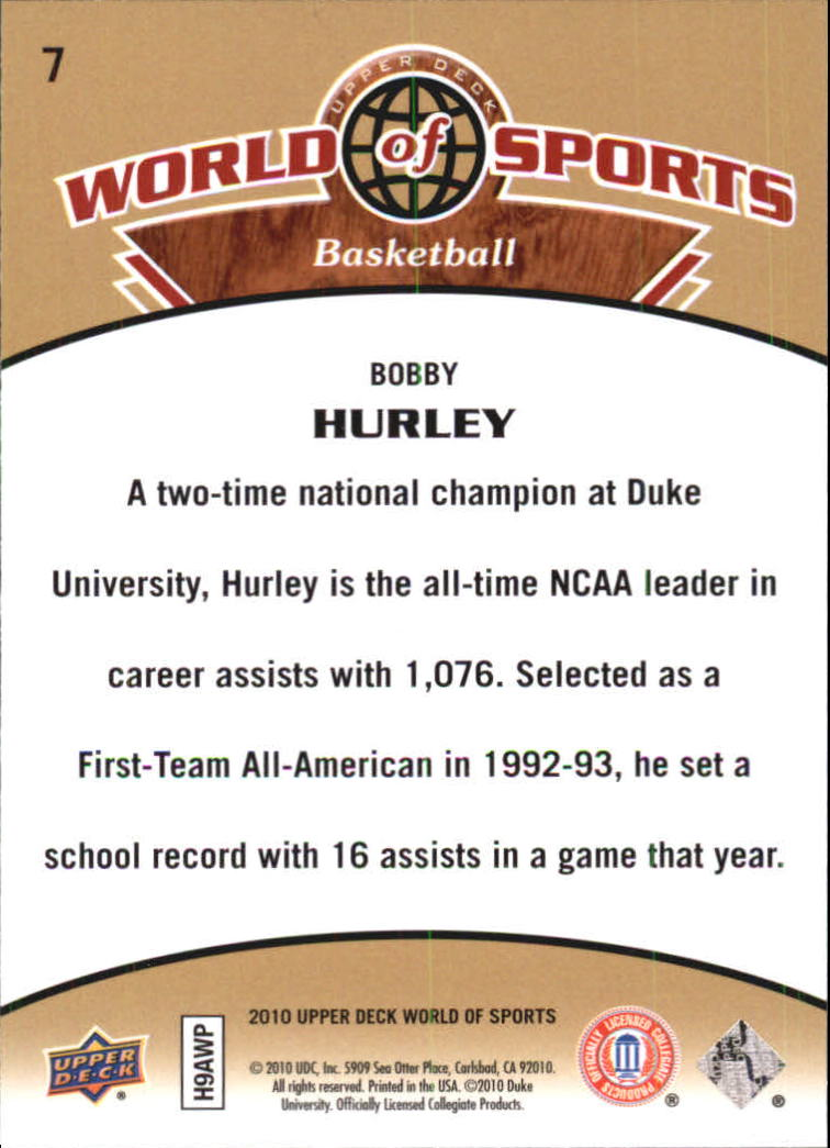 2010 Upper Deck World of Sports #7 Bobby Hurley back image