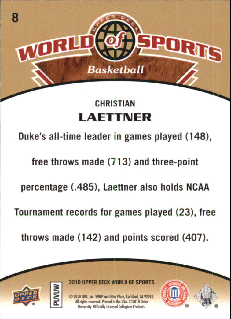 2010 Upper Deck World of Sports #8 Christian Laettner back image