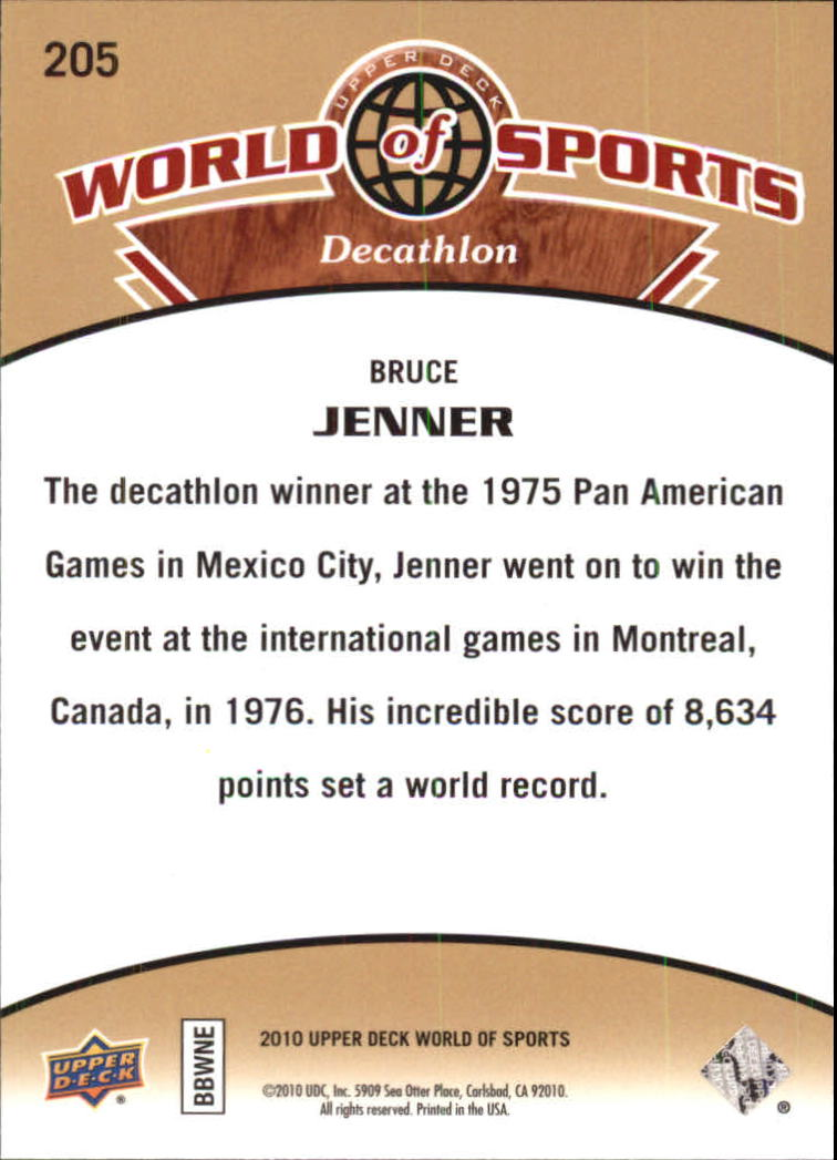 2010 Upper Deck World of Sports #205 Bruce Jenner back image