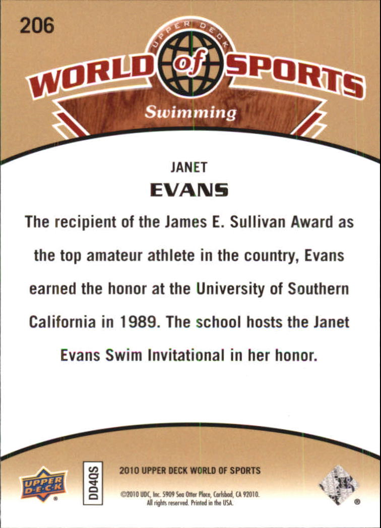 2010 Upper Deck World of Sports #206 Janet Evans back image